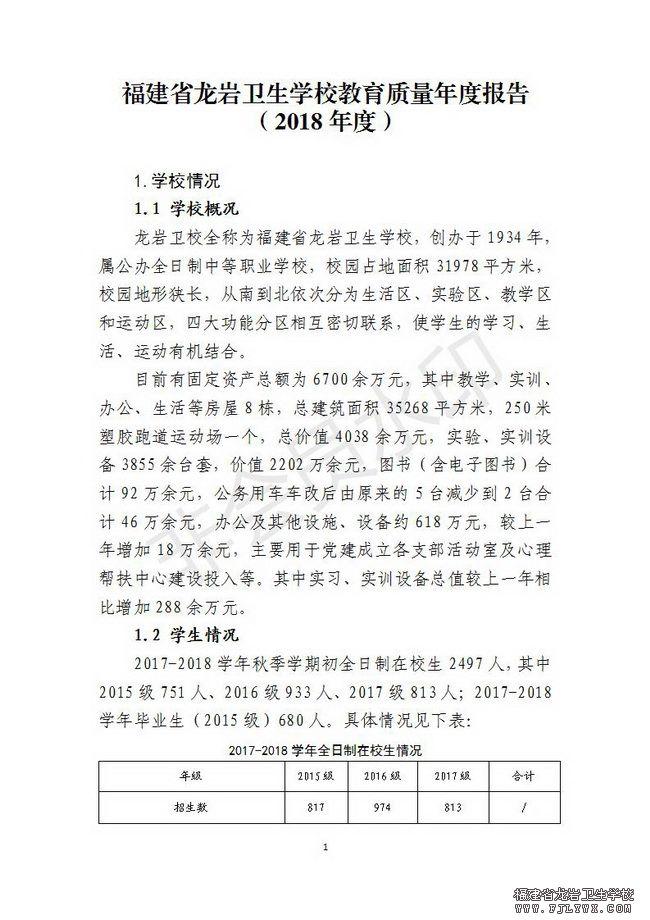 福建省龙岩卫生学校教育质量年度报告(2018年度)_01.jpg